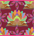flower pattern red brown and pink line graphic vector image vector image