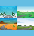 four scenes with empty roads vector image vector image