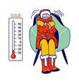 freezing character wrapped in warm winter clothes vector image vector image