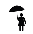 girl with umbrella black vector image