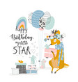 Greeting birthday card with cute deer and mouses