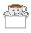 grinning with board coffee character cartoon style vector image vector image