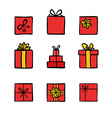 Hand drawn colored doodle icons gift boxes vector image