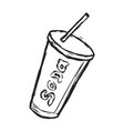 hand drawn soda drink on white background vector image vector image