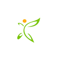happy vegetarian abstract leaf logo vector image
