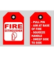 How to use a fire extinguisher informational tags vector image vector image