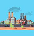 industry city factory buildings in urban vector image vector image