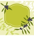Label for product Olive oil Green olives vector image