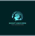 logo night unicorn silhouette style vector image vector image