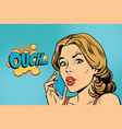 ouch woman speaks on the smartphone vector image vector image