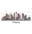 outline calgary canada city skyline with color vector image vector image