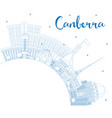 outline canberra australia city skyline with blue vector image vector image