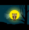 owl sitting on a tree branch background of the vector image vector image