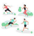 people running sport sprint men and women vector image