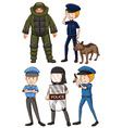 Policeman in different uniforms vector image vector image