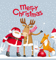 santa and elk wish you a merry christmas vector image vector image