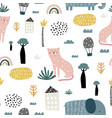 seamless pattern with kids style cat elephant vector image vector image