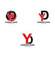 set initial letter yd logo template design vector image vector image