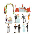 set wedding concept icons flat style vector image
