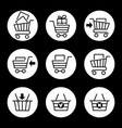shopping cart icons in circles vector image vector image