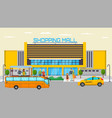 shopping mall transport stop with different city vector image