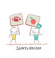 Sports doctor holds a banner with a painted apple vector image vector image