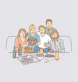watching movie together leisure concept vector image