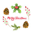 watercolor christmas wreath isolated on white vector image