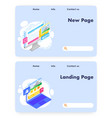 website landing page design template set vector image vector image