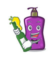 with beer shampo mascot cartoon style vector image