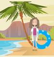 woman on beach hello summer vacation tropical vector image vector image