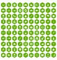 100 dog icons hexagon green vector image vector image