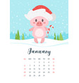 2019 pig year monthly calendar vector image