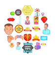 ad icons set cartoon style vector image vector image