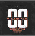 athletic wear college division stamp design vector image