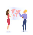 bearded man learning world map and woman watching vector image vector image