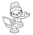 black and white chef mascot receive an order with vector image vector image