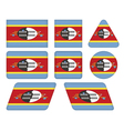 buttons with flag of Swaziland vector image vector image