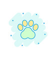 cartoon paw print icon in comic style dog or cat vector image vector image