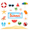 collection of summer design element isolated on vector image