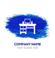 computer table icon - blue watercolor background vector image