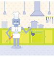 cook in kitchen vector image vector image