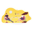 couple eating fast food in cafe flat vector image