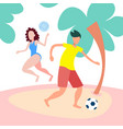 couple playing beach games female male activity vector image