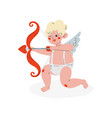 cute funny cupid aiming at someone with arrow of vector image vector image