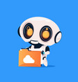 cute robot hold folder with cloud isolated icon on vector image