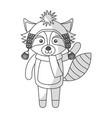 cute shadow christmas raccoon cartoon vector image vector image