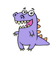 cute smiling purple dinosaur vector image vector image