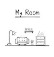 doodle living room vector image vector image