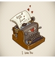 Doodle Vintage Greeting Card with Retro Typewriter vector image vector image
